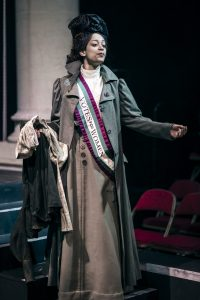 Acting Student dressed as a suffragette in a production of Her Naked Skin