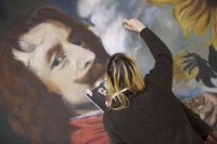 Scenic Artist painting an Old Master's style portrait