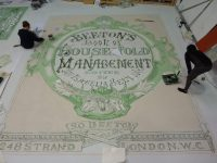 Scenic Art students working on the floor for Mrs Beeton Says