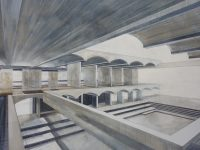 Perspective painting by a scenic art student