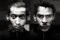 Two black and white abstract photos of men