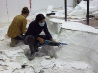 Scenic Art students doing poly carve work