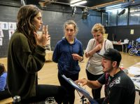 Students in rehearsal for Caucasion Chalk Circle