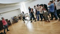 Students in Nicholas Nickleby rehearsals