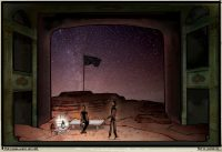 Set design sketch of two figures posing by flag