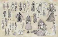 Mixed sketches of costume designs
