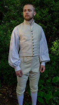 Model wearing cream mens' waistcoat