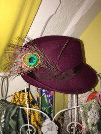Close up of hat with peacock feather detail