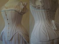 Edwardian S-bend corset with lace and ribbon detailing, hip and bust improvers, front and back