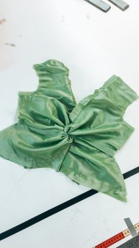 Green silk fabric pattern
