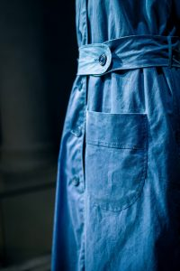Close up of pocket and belt detail, blue workwear