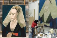 left large portrait of painted portrait wearing veil, right shot of the artist painting the portrait