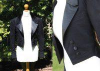 Left photo of smart black dinner jacket on mannequin, right close up of jacket detail on mannequin