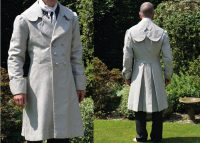 Left photo of model in dress coat right photo of the back of the coat