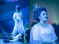 Left photo of actress wearing The Snow Queen blue white dress and crown, right close up photo of actress wearing crown
