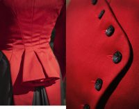 left close up of jacket detail, right close up of button detail on red jacket
