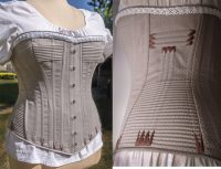 Left close up of bodice and white undershirt, right close up of bodice detail