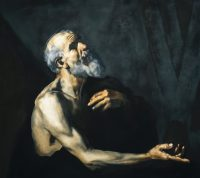 Large painting of bearded man with right arm outstretched