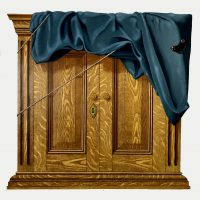 Painting of wooden cupboard with string around it and a cloth over the top, with a butterfly in the top right corner