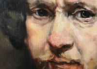 Close up painting of face of Rembrandt