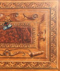 Painting of decorated wooden panel with black, orange and white butterfly to the upper left