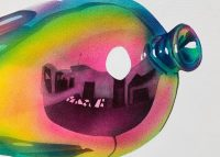 Colourful painting of close up of a balloon