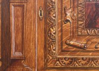 Close up painting of wooden panel