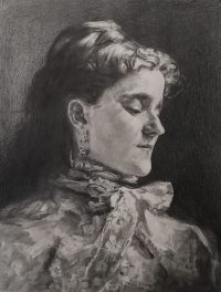 Black and white portrait of lady with long dark hair and high necked blouse