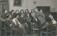 Black and white photo of students circa 1950s