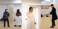 images of the cast of Far from the Madding Crowd rehearsing in period dress