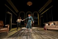 Two actors on the stage of Bristol Old Vic for Hedda