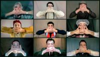 Series of images of students in costume with their hands over their mouths